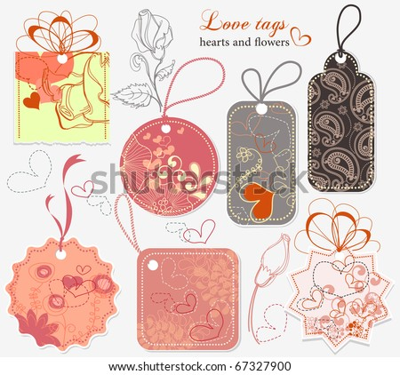 Love tags - stock vector