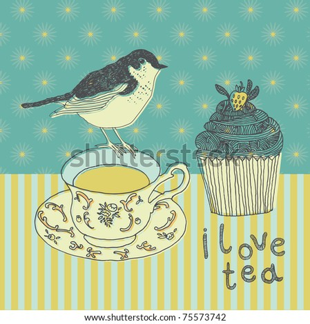 love tea background with cupcake and bird