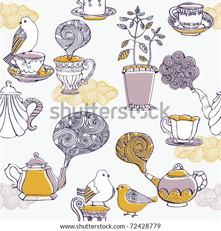 love tea. seamless pattern