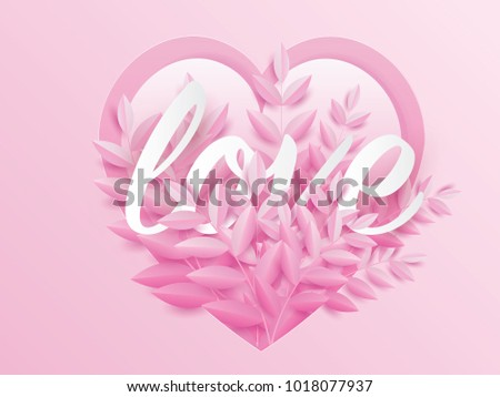 love text in pink leaf flower