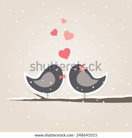 love theme card with cute birds