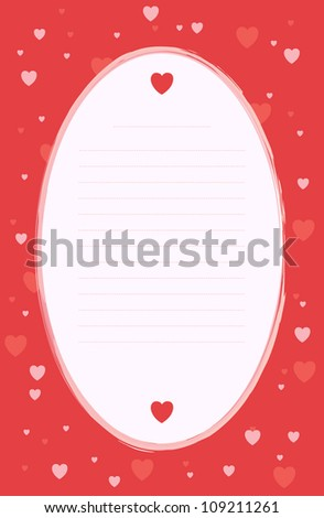 Love-themed blank note with lines.