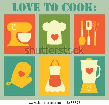 love to cook card design. vector illustration