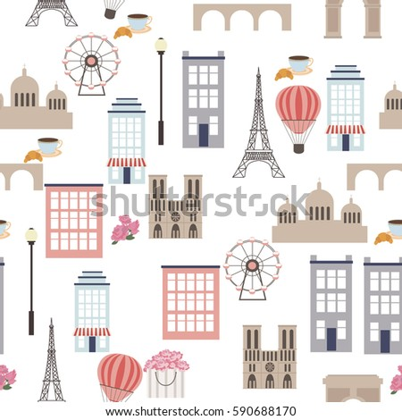 love to paris seamless pattern
