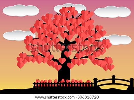 love tree red hearts leaf in