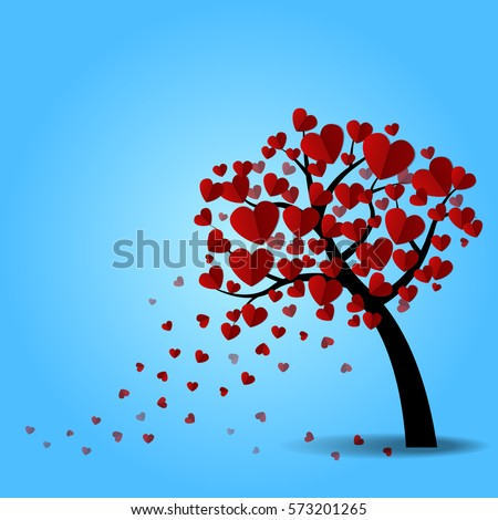 love tree with heart leaves on
