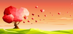 Love tree with heart leaves. Valentine day concept.Polygonal style-Eps10 Vector Illustration.