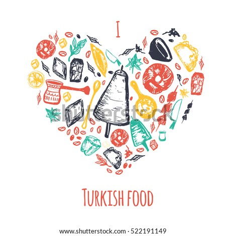 Love Turkish food hand drawn heart shape banner with lettering and beverages with Kebab, Dolma, Shakshuka. Freehand vector doodles isolated on white background