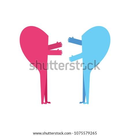 love two halves of heart hugs