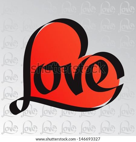 love typography heart