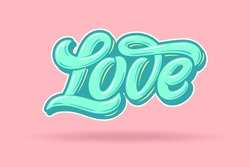 Love typography in the style of the punchy pastels. Pink background and blue letters in pastel colors. Used for invitations to the wedding, greeting cards, flyers. Vector illustration.
