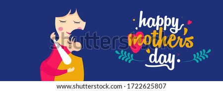 Love u mom. Happy Mother's Day. Social media banner of daughter and mother's love vector, illustration for Happy mother's day. Use for banner, poster, advertisement, sale, social media post.