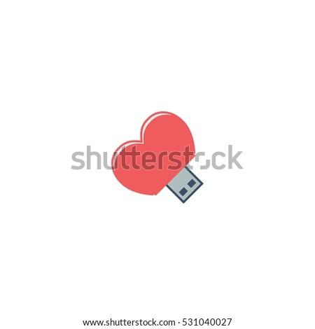 love usb computer vector logo