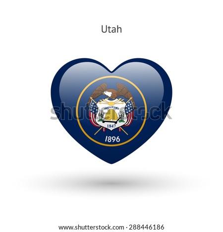 love utah state symbol heart