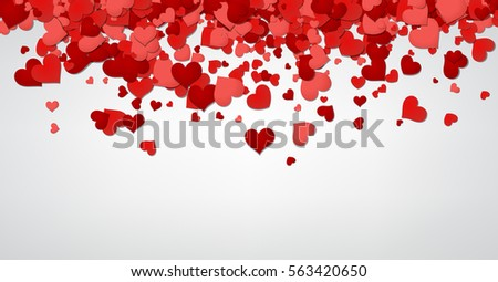 Love valentine's background with red and pink hearts. Vector paper illustration.