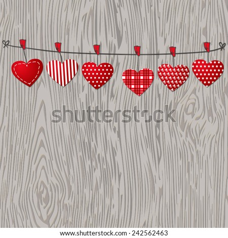 Love Valentines hearts hanging on texture wood background. Eps 10 vector