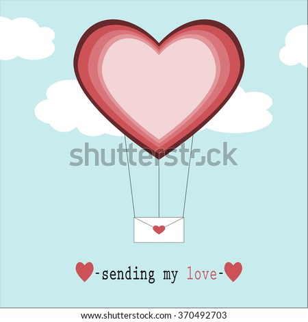 love valentines red heart letter balloon #370492703