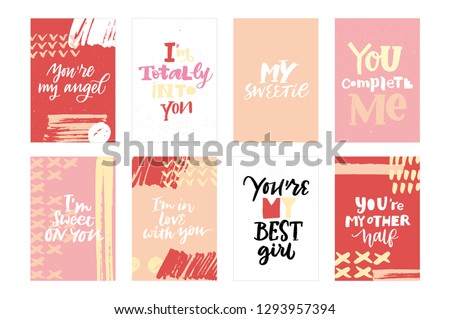 LOVE VECTOR HAND LETTERING POSTCARDS. YOU ARE MY ANGEL, I'M TOTALLY INTO YOU, MY SWEETIE, COMPLETE ME, I'M SWEET ON YOU, I'M IN LOVE WITH YOU, YOU'RE MY BEST GIRL, YOU'RE MY BEST HALF