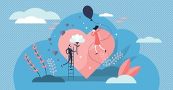 Love vector illustration. Flat tiny romance feelings symbols person concept. Abstract flying happiness, marriage and couple relationship visualization. Strong positive and cheesy bonding emotions.