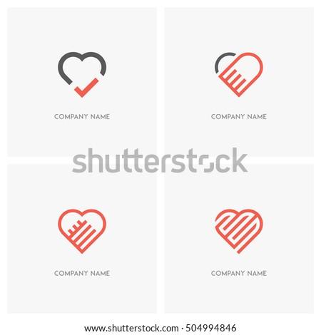 love vector logo set the heart