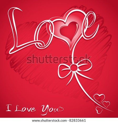 Love vector red background with hearts (valentine's day card)