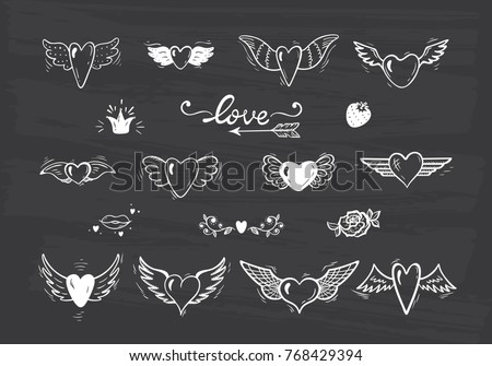 Love Vector Set Beautiful Doodle Heart Tattoo Hearts With Wings For Valentines Day Or