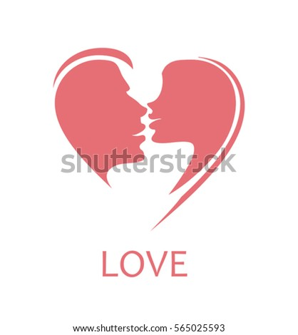 Red Hearts Kiss Vector Symbol Ez Canvas