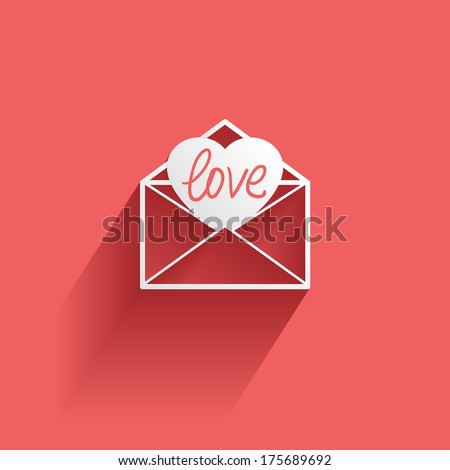 love, vintage love letter, flat icon isolated on a red background for your design, vector illustration