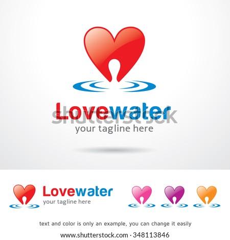 Love Water Logo Template Design Vector