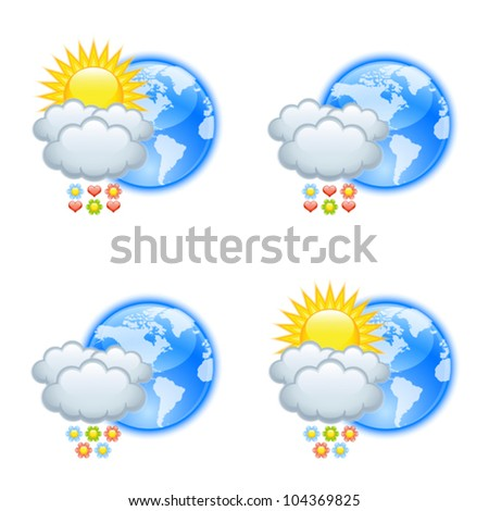 Love weather icons for valentine�s day