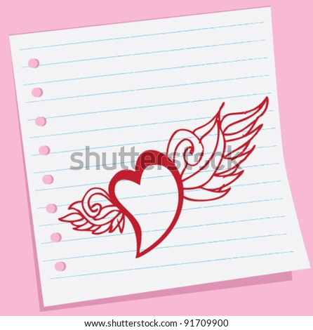 love wing doodle sketch hand-draw