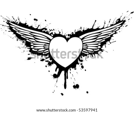 How To Draw A Love Heart With Wings. Freesee the heart urban loveheart with white wings Graffiti+heart+wings