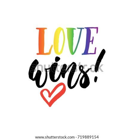love wins   lgbt slogan hand