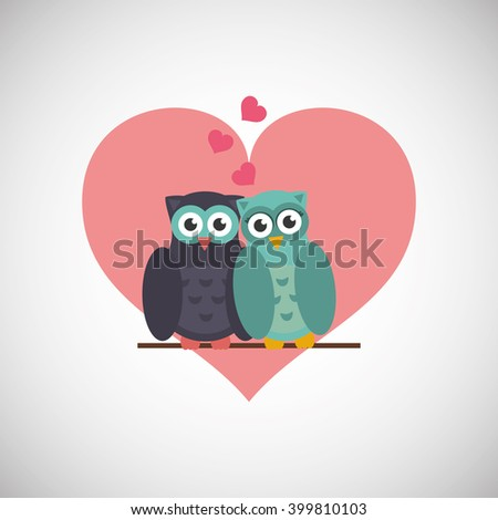 love with owl design  vector