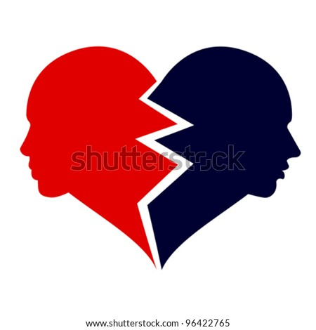 love - woman and man in the broken heart, vector