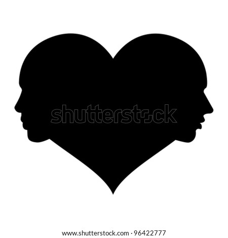 love - woman and man in the heart, vector