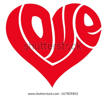love word made in shape of a