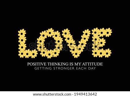 Love word made with flowers vector illustration design for fashion graphics, t shirt prints, posters etc Foto stock ©