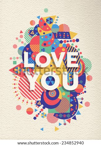 love you colorful typography