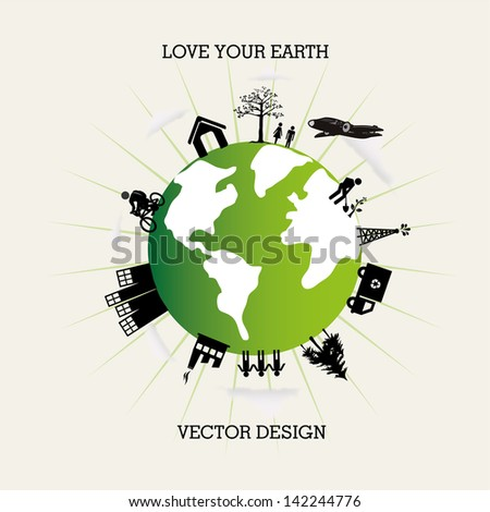 love you earth over white background vector illustration