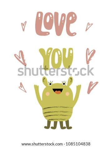 love you nursery color poster