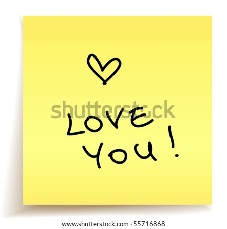 love you paper note - stock vector