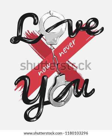 love you slogan with handcuff illustration