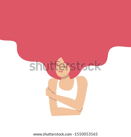 Love yourself concept. Vector illustration flat design style. Happy woman hug herself with heart background. Love your body concept. Girl Healthcare Skincare. ストックフォト ©