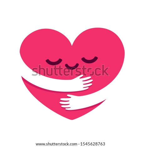Love yourself, cute cartoon heart character hug. Kawaii heart with hugging arms. Self care and happiness vector illustration.