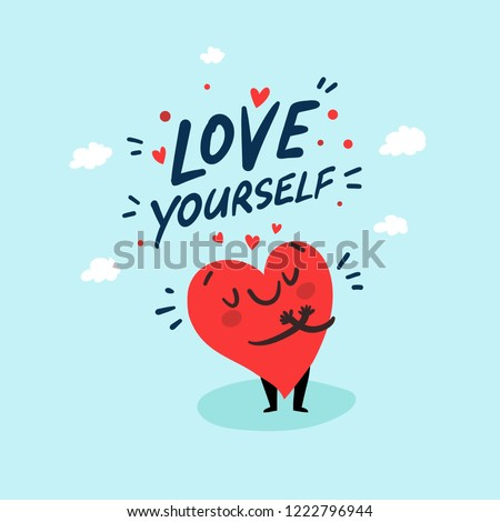 Love yourself funny concept. Cute single heart. Happy Valentine's day vector card