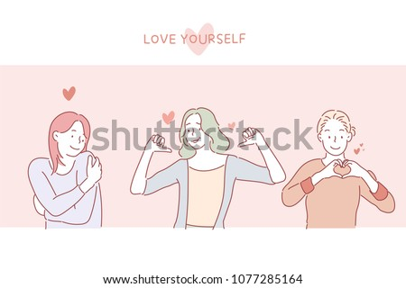 Love Yourself Girls on Postcard. hand drawn style vector doodle design illustrations. Foto stock ©