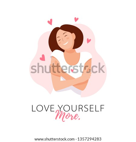 Love yourself more. Love your body concept. Girl Healthcare Skincare. Take time for your self. Vector illustration. Woman hugging herself with hearts on white background. Pastel pink cute soft colors