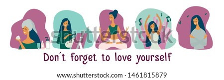 Love yourself set. Vector lifestyle concept card with text don't forget to love yourself. Motivation to take time for yourself: go to events, create, do yoga. Cartoon colorful illustration