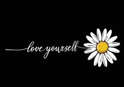 love yourself stay positive. monoline calligraphy banner with swashes for fashion graphics, t shirt prints, posters etc stationery,mug,t shirt,phone case  fashion style trend spring summer print